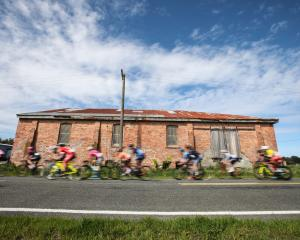 Riders travel through Tisbury on the way to Bluff Hill during stage four of the Tour of Southland...