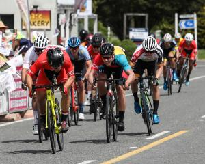 Australian teenager Jensen Plowright surges towards the finish line in Lumsden to win the first...