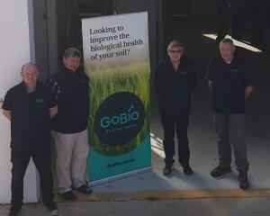 The GoBio team opened its new Waikouaiti factory recently. From left are Rob Ottrey, Brent Rodger...