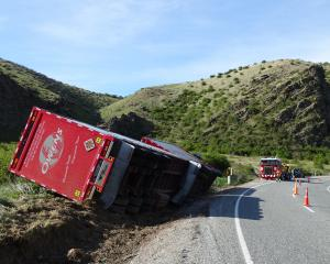 The truck remained at the crash site this morning on State Highway 8, near Tarras. Photo: Kerrie...