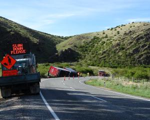 Traffic on State Highway 8 was down to one lane yesterday morning following a truck crash 20km...