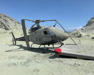 The helicopter that was destroyed by the Whakaari/White Island volcanic eruption. Photo: Instagram