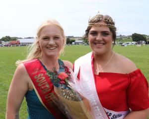 Former South Otago A&P Show Queen Bayley Coates (left) passed her crown to 2019 winner...