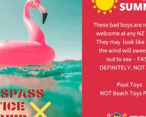 Surf Life Saving says inflatable toys are for the pool, not beach.