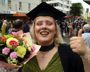 Courtney Barrow, of Oamaru, celebrates graduating from the University of Otago with a bachelor's...