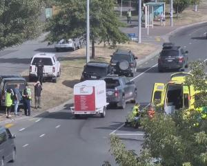 The crash on Opawa Rd (SH76) at the intersection with Brabourne St. Photo: CTOC