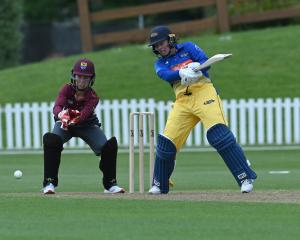 Otago all-rounder Hayley Jensen playes a cut shot during a one-dayer against Northern Districts...