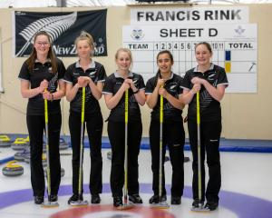 The New Zealand under-21 curling team of (from left) Rachael Pitts, Zoe Harman, Courtney Smith,...