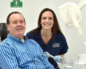 Dental patient Brendon Hurring and University of Otago dentistry student Jamie Marra. PHOTO:...