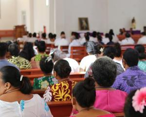 Congregations at church services such as this one in Mulivai in Samoa are praying for those hit...
