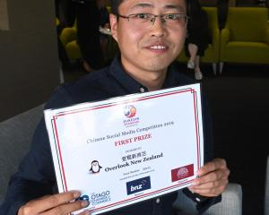 Chinese social media competition winner Eric Li at the award presentation. PHOTO: LINDA ROBERTSON