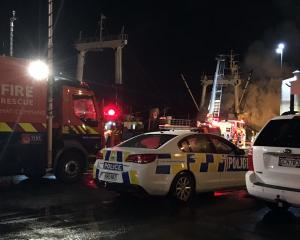 Emergency services at the scene of the fire at the port in Timaru. Photo: Alexia Johnston