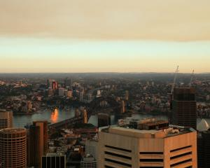Smoke haze seen from the Sydney Tower Eye observation deck this morning. Photo: Getty
