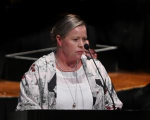 Otago Community Hospice chief executive Ginny Green speaks at the Dunedin Town Hall yesterday....