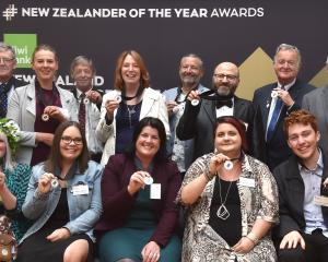 Receiving awards for their efforts to make the Otago community a better place are (back, from...