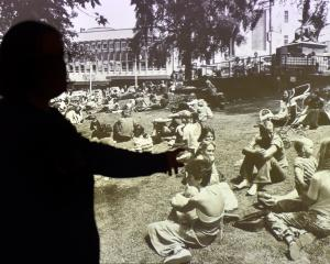 Milly Mitchell-Anyon has projected this old Otago Daily Times image of people enjoying the...