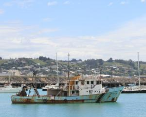 A large vessel is temporarily anchored off Sumpter Wharf at Oamaru Harbour. ORC harbourmaster...
