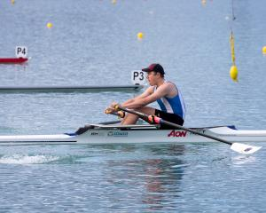 Otago Rowing Club rower Jack Pearson gets into his work in a men's under-18 single heat at Lake...