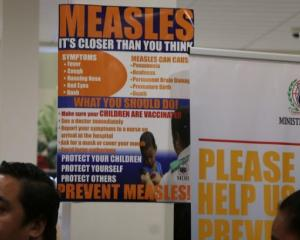 Posters warning about measles in Samoa. Photo: RNZ