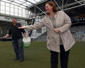 Steven and Tracy Smith help spread grass seed on the pitch at Forsyth Barr Stadium yesterday, as...