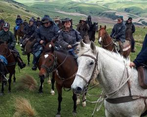 About 45 riders took part in the Greenvale Dog Trial Club's fundraising horse trek from Waikaia...