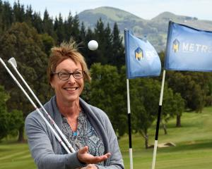 Tania Stevens on the second hole at the Taieri Lakes Golf Club, where she scored the first of her...