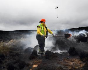 Forestry worker and firefighter Thijs Aisi turns over smouldering ground on the Te Papanui...