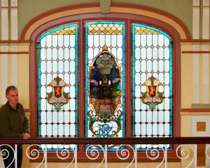 The east-facing stain glass window at Dunedin Railway Station. Photo by Gerard O'Brien.