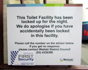 A sign at Oamaru's Itchen St toilets. Photo: Supplied