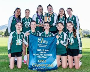 Burnside High School junior volleyball team won the South Island title for the second year in a row.