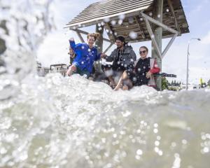 Beate Manguse, Jenda Ulicniku, Alexane Blanchard and Dick Van Der Gelt at the Wanaka Lakefront on...