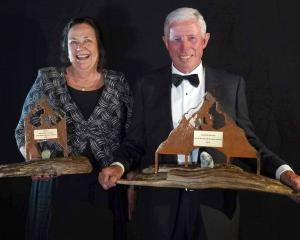Showing off their trophies at the Wanaka Business Awards on Friday evening are Wanaka Helicopters...