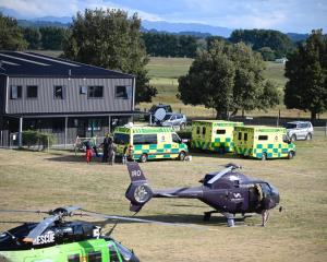 Ambulances and helicopters at Whakatane airport. Photo: NZ Herald/George Novak