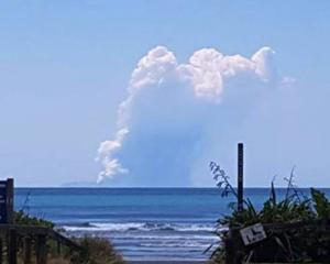 Eruption on White Island today. Photo: Supplied