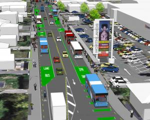 Main North Rd after new bus priority measures are introduced. Image: Newsline/CCC