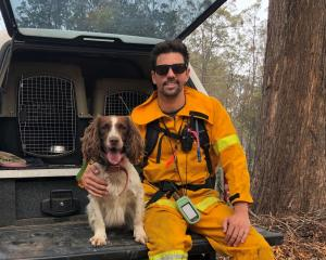 Taylor with trainer Ryan Tate at bushfire-affected Taree in New South Wales. Photo: Tate Animal...