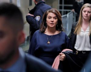 Annabella Sciorra leaves after giving evidence against Harvey Weinstein. Photo: Reuters