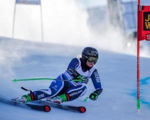 Alice Robinson competes during the Audi FIS Alpine Ski World Cup Women's Giant Slalom in...