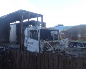 The gutted Aratuna Freighters truck and trailer units at the back of Johnston Street yard in...