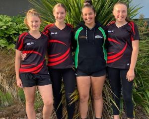 Mid Canterbury netballers (from left) Ashlein Lyttle, Jasmin Strawbridge, Hayley Tallentire and...