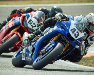 Alastair Hoogenboezem (No 43) and Mitch Rees (No 62) battled it out at the New Zealand Superbike...