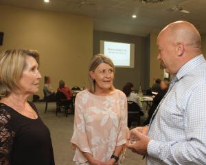 MAC Clutha facilitator Jean Proctor (centre) introduces Clutha Mayor Bryan Cadogan and Brave...