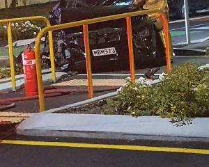 The vehicle hit a traffic island at the intersection of Sheldon St and Radley St. Photo: Supplied