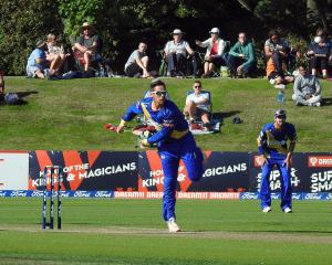 Otago all-rounder Anaru Kitchen bowls during his side Super Smash twenty20 match at the Hagley...
