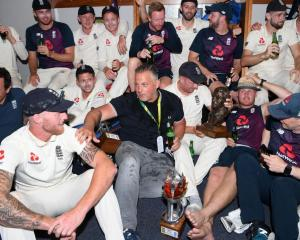 The England team celebrates after beating South Africa 3-1 in their test series. Photo: Getty Images