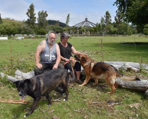 Waitati builder Mark Spencer and partner Annie Naylor, with dogs Kodi and Chiko, on the site...