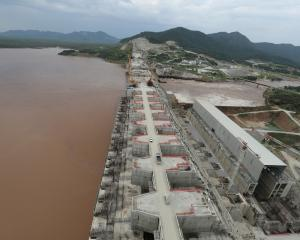 Construction work of Ethiopia's Grand Renaissance Dam on the river Nile last September. PHOTO:...