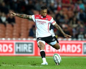 Lions first five-eighth Elton Jantjies kicks for goal against the Chiefs in Hamilton last year....