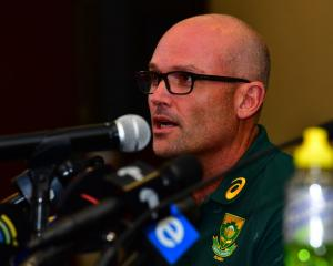 New Springboks head coach Jacques Nienaber speaks during a press conference in Pretoria. Photo:...