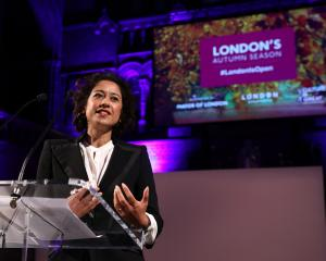 Journalist and broadcaster Samira Ahmed talks during the London Autumn Season launch at the...